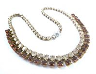 Vintage Purple And Clear Rhinestone Necklace.